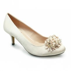 Lunar Blossom Full Floral Mid Heel Court Shoes - Champagne
