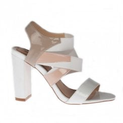 Una Healy Karma Snow Mix Block Heeled Sandals - White/Beige/Nude