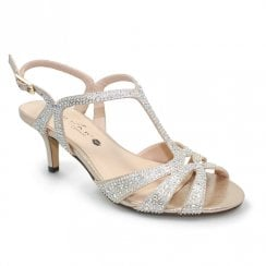 Lunar Francie Occasion Wide Fit Gemstone Low Heel Sandals - Gold