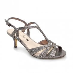 Lunar Francie Occasion Wide Fit Gemstone Low Heel Sandals - Pewter