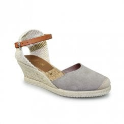 Lunar Jolie Espadrille Closed Toe Wedge Sandals - Grey