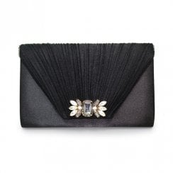 Lunar Amalfi Pleated Clutch Bag - Black
