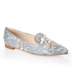 Nicola Sexton 4610 Blue Flat Embroidered Floral Pattern Loafers