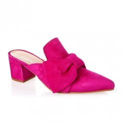 Nicola Sexton 4648P Block Heeled Slip On Pointed Mule Loafers - Fuchsia