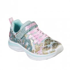 Skechers Girls Double Dreams Mermaid Music Velcro Sneakers - Aqua