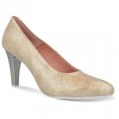 Pitillos Womens Platform High Heel Court Shoes - Gold