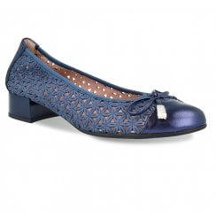 Pitillos Womens Flat Ballerina Pumps Shoes - Navy Blue