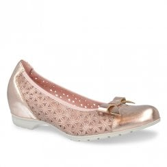Pitillos Womens Low Wedge Ballerina Pumps Shoes - Rose Gold