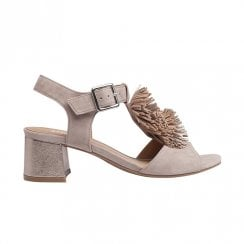 Regarde le Ciel Catty 10 Leather T-bar Medium Block Sandals - Grey Suede