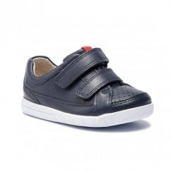 Clarks Boys Emery Walk Toddler G Kids Velcro Shoes - Navy Leather