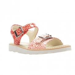 Clarks Girls Crown Bloom F Kids Leather Sandals - Blossom Orange