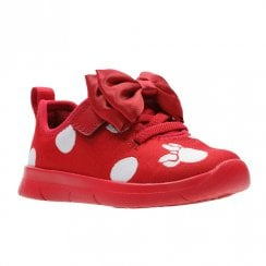 Clarks Girls Ath Bow F Toddler Kids Sport Shoes - Red Combi