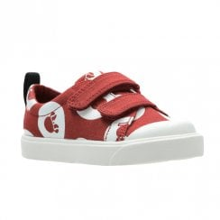 Clarks City Polka Lo G Canvas Kids Sport Shoes - Red Combi