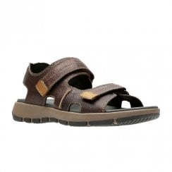 Clarks Brixby Shore Mens Velcro Sandals - Dark Brown Leather