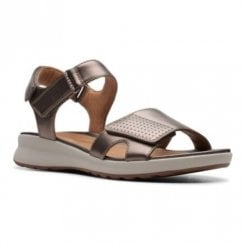 Clarks Un Adorn Calm Flat Womens Sandals - Pebble Gold Metalic