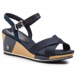Tommy Hilfiger Printed Wedge Sandals - Midnight Navy