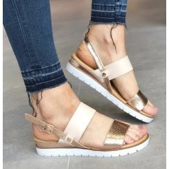Redz Rose Gold Low Wedge Sandal