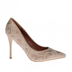Escape Claremont Pointed Stiletto High Heel Court Shoes - Latte Bling