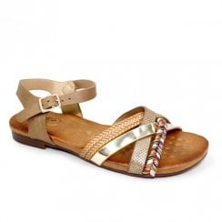 Lunar Louisa Multi Cross Strap Sandals - Brown