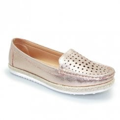 Lunar Tyler Flat Espadrille Perforated Summer Moccasin - Rose Gold