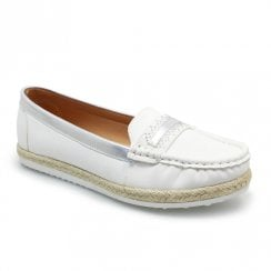 Lunar Vittoria Summer Flat Moccasin Shoes - White