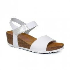 Lunar Oslo Leather Mid Wedge Velcro Strap Sandals - White