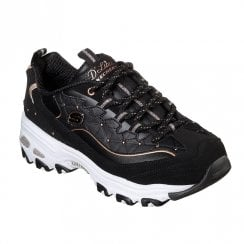 Skechers Womens D'Lites Glamour Feels 13087 Sneakers - Black/Gold