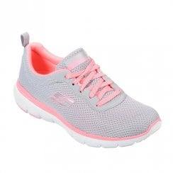Skechers Womens Flex Appeal 3.0 First Insight 13070 Sneakers - Grey/Hot Pink
