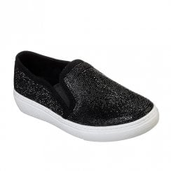 Skechers Womens Goldie Flashow 73803 Slip On Sneakers - Black Metallic