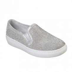 Skechers Womens Goldie Flashow 73803 Slip On Sneakers - Silver Metallic