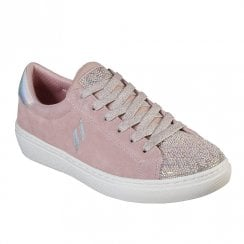 Skechers Womens Goldie Shiny Quilter Suede 73845 Sneakers - Light Pink