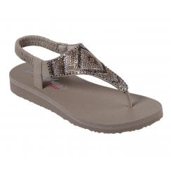 Skechers Womens Meditation Gypsy Glam 31769 Flat Sandals - Taupe