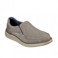 Skechers Mens Status 2.0 Mosent 66014 Slip On Casual Shoes - Khaki/Taupe