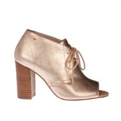Amy Huberman Julie Fizz Block Heeled Open Toe Lace Up Boots - Gold
