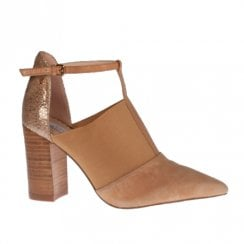 Amy Huberman Half Magic Pointed High Heels - Baileys Tan/Beige