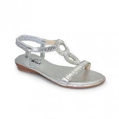 Lunar Samantha Junior Kids Diamond T-Bar Sandals JCH004 - Silver