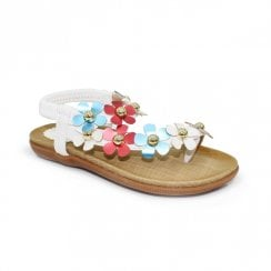 Lunar Girls Primrose Floral Toe Loop Kids Sandals JCH008 - White Multi
