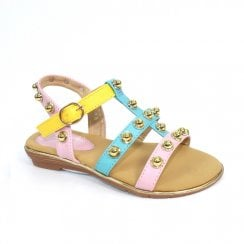 Lunar Girls Enya Multicolour Kids Sandals JCH009 - Pink Multi