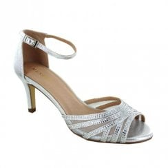 Menbur Valpromaro Low Heel Elegant Metallic Diamante Sandals - Silver 20239