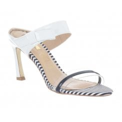 8590abfd12a Glamour Selina Mid Heel Mule Sandal - Navy White
