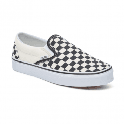 Vans Unisex Checkerboard Classic Slip-On Shoes - Black/White Checker