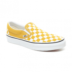 Vans Womens Checkerboard Classic Slip-On Shoes - Yolk Yellow/True White
