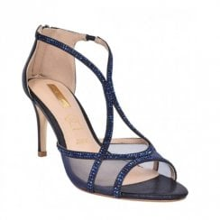 Glamour Eddi Gem Strap Heeled Sandals - Navy