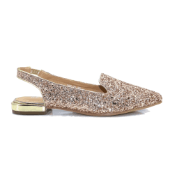Redz Rosegold Glitter Sling-Back Flat Pointed Toe Sandals