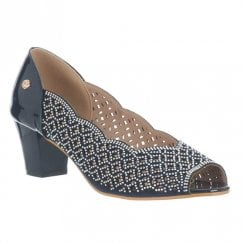Zanni & Co Ladies Staugustine Gem Low Block Heel Shoes - Navy