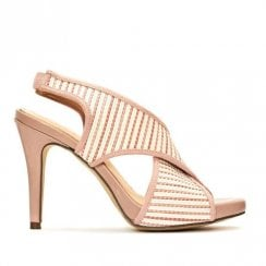 Menbur Vaprio Blush White Crossover Straps Heeled Sandals - 20215
