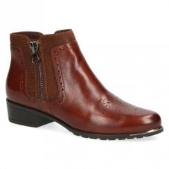 Caprice Womens Leather Flat Ankle Boots - Brandy