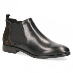 564e7a4e Caprice Womens Leather Slip On Flat Ankle Boots - Black/Leopard