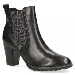 Caprice Leather Block Heeled Ankle Boots - Black/Leopard