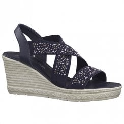 Marco Tozzi Womens Wedge Heeled Sandals - Navy